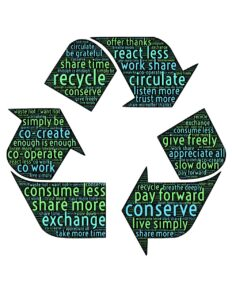 recycle, recirculate, share